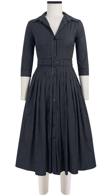 Audrey Dress #2 Shirt Collar 3/4 Sleeve Midi Length Cotton Stretch (Toto Gingham)