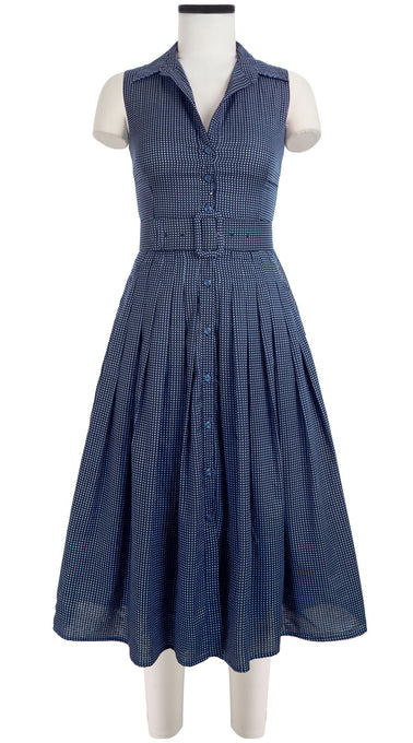 Audrey Dress #2 Triple Layer Shirt Collar Sleeveless Midi Length Cotton Musola (Toto Gingham)