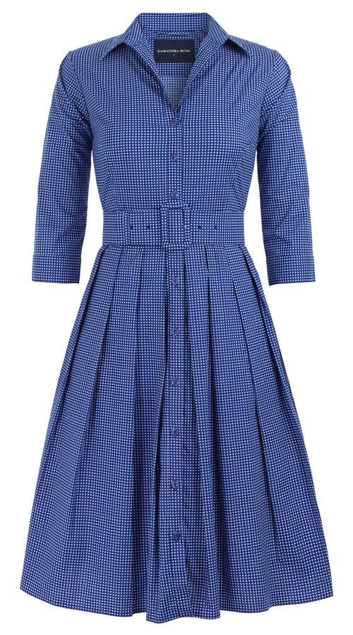 Audrey Dress #1 Shirt Collar 3/4 Sleeve Cotton Stretch (Toto Gingham)