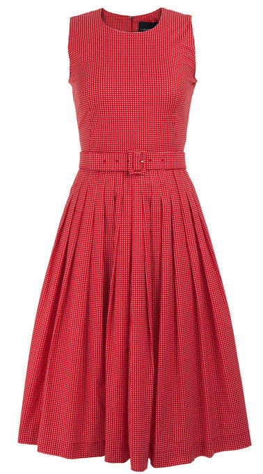 Florance Dress Crew Neck Sleeveless Long Length Cotton Stretch (Toto Gingham)