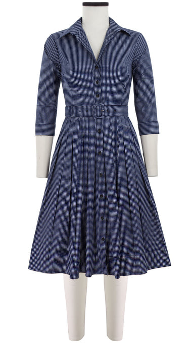 Audrey Dress #2 Shirt Collar 3/4 Sleeve Cotton Stretch (Toto Gingham)