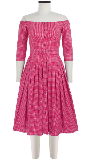 Audrey Dress #2 Off Shoulder 3/4 Sleeve Cotton Stretch (Toto Gingham)