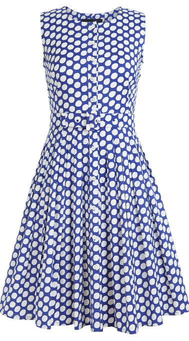 Audrey Dress #2 Crew Neck Sleeveless Cotton Stretch (Tropical Dots)