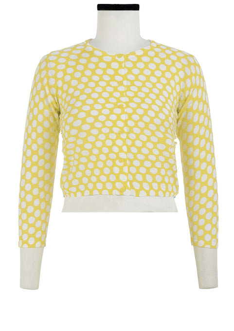 Lynette Cardigan Crew Neck 3/4 Sleeve_70% Silk 30% Cashmere_Tropical Dots_Chrome Yellow White