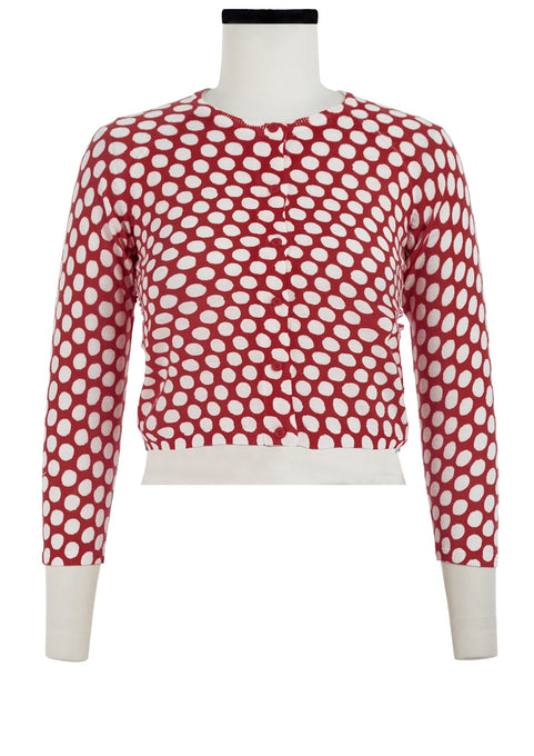 Lynette Cardigan Crew Neck 3/4 Sleeve_70% Silk 30% Cashmere_Tropical Dots_Indian Red White
