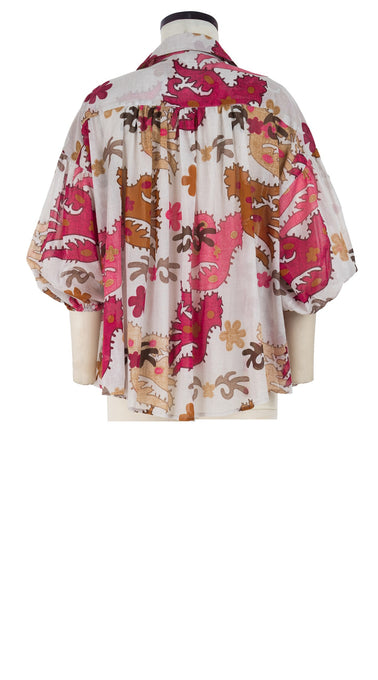 Julia Blouse Shirt Collar 3/4 Sleeve Cotton Musola (Ukrainian Bird)