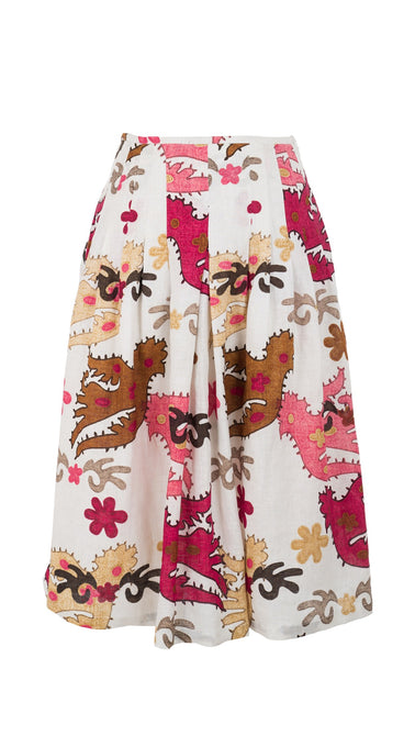 Zelda Skirt Long +3 Length Linen (Ukrainian Bird)