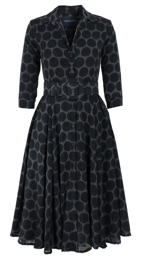 Aster Dress #2 Shirt Collar 3/4 Sleeve Midi Length Wool Musola (Velvet Dots)