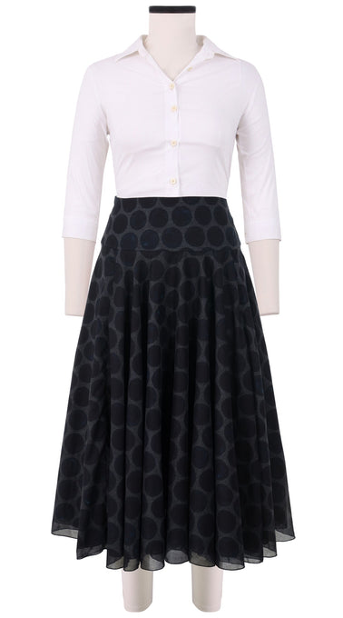 Aster Skirt with Yoke Midi Cotton Musola (Velvet Dots)