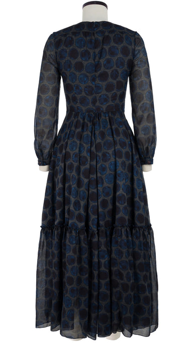 Anna Dress #2 Crew Neck Long Puff Sleeve Ankle Length Cotton Musola (Velvet Dots)