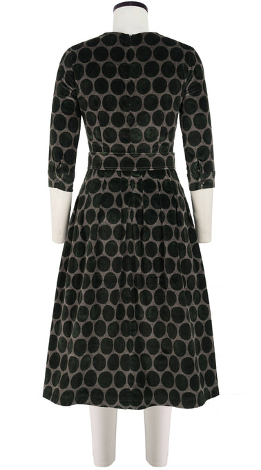 Florance Dress #3 Jewel Neck 3/4 Sleeve Long +3 Length Velveteen (Velvet Dots)