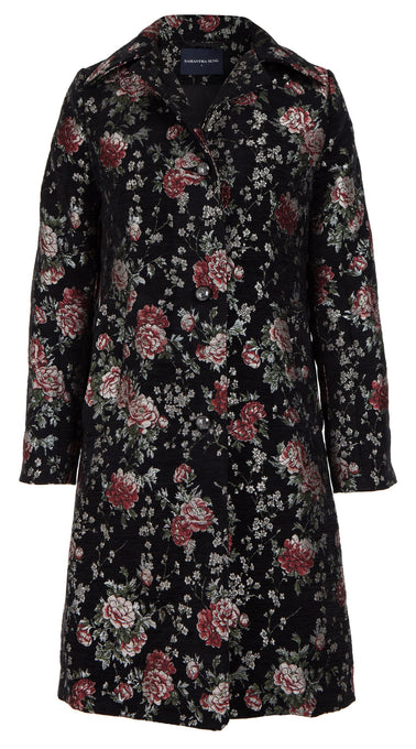 Jessica Coat Shirt Collar Long Sleeve Silk Poly Brocade_Velvet Rose Brocade_Black
