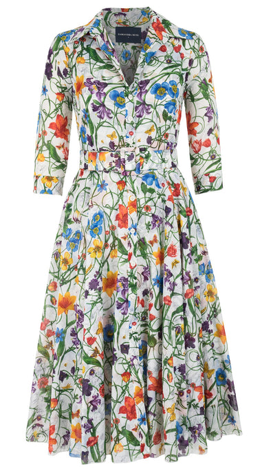 Aster Dress #2 Shirt Collar 3/4 Sleeve Midi Length Cotton Musola (Vintage Botanical)