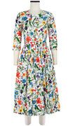 Rachel Dress Crew Neck 3/4 Sleeve Midi Length Cotton Stretch (Vintage Botanical)