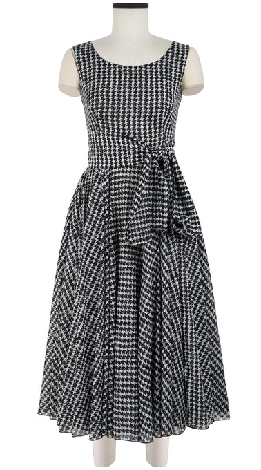 Aster Dress Boat Neck Mini Cap Sleeve Midi Length Cotton Musola (Vivier Check)