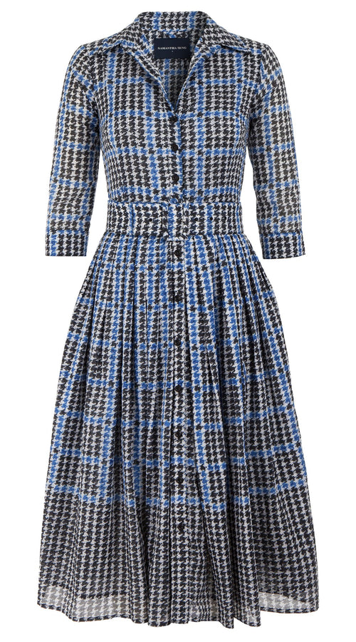 Audrey Dress #2 Shirt Collar 3/4 Sleeve Midi Length Cotton Musola (Vivier Check)
