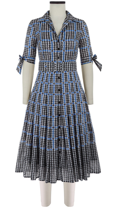 Audrey Dress #4 Shirt Collar 1/2 Sleeve Midi Length Cotton Musola (Vivier Check)