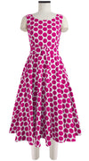 April Dress Boat Neck Mini Cap Sleeve Midi Cotton Stretch (Warhol Dots Bright)