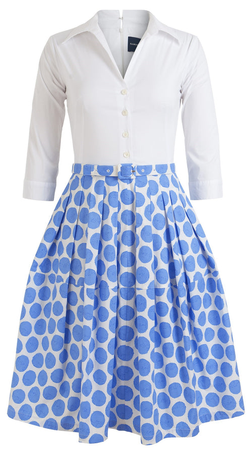 Claire Dress Contrast Shirt Collar 3/4 Sleeve Cotton Stretch (Warhol Dots Pastel)