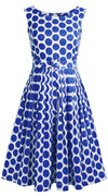 Florance Dress Boat Neck Sleeveless Cotton Stretch (Warhol Dots Bright)