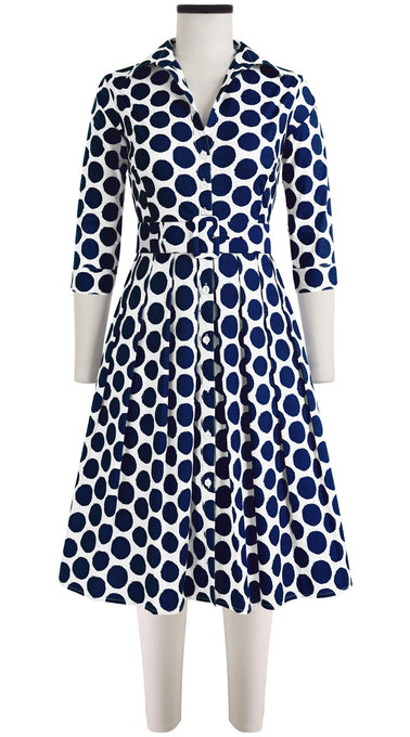 Audrey Dress #1 Shirt Collar 3/4 Sleeve Cotton Stretch (Warhol Dots Bright)