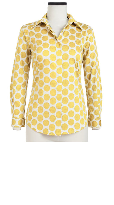 Katharine Shirt Long Sleeve Cotton Stretch (Warhol Dots Pastel)
