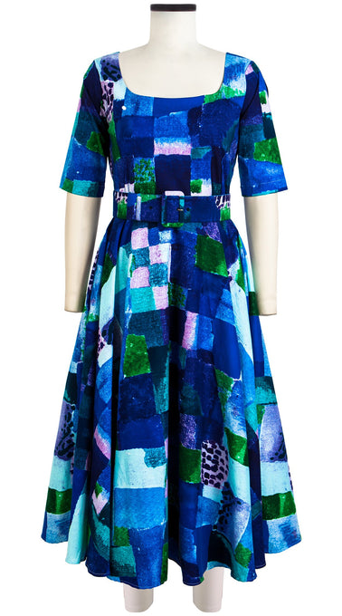 April Dress U Neck 1/2 Sleeve Midi Cotton Stretch (Watercolor Klee)