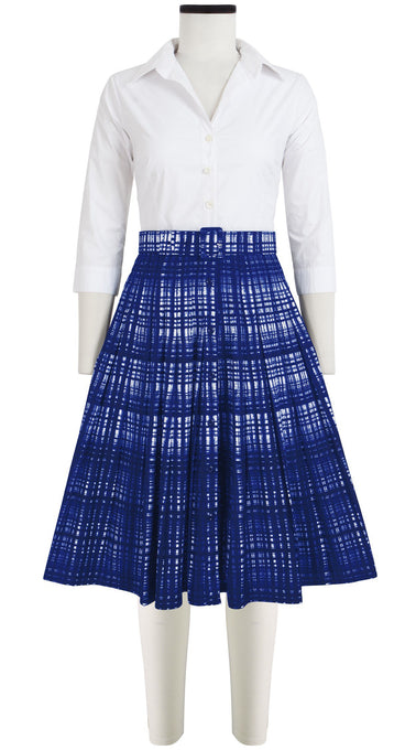 Audrey Dress #2 Contrast Shirt Collar 3/4 Sleeve Cotton Stretch (Watercolor Check)