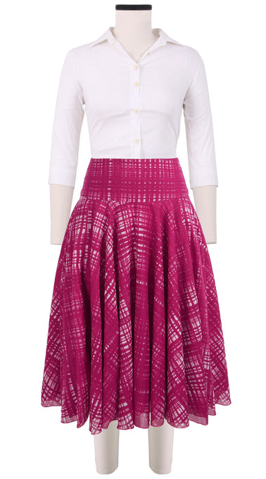 Aster Skirt with Yoke Midi Cotton Musola (Watercolor Check)