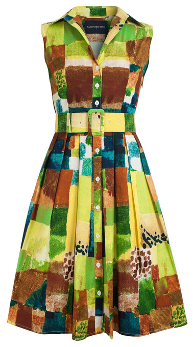 Audrey Dress #1_Watercolor Klee in Yellow Green_Cotton Stretch_Shirt Collar Sleeveless
