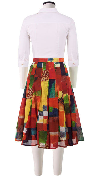 Zeller Skirt Long Length Cotton Musola (Watercolor Klee)
