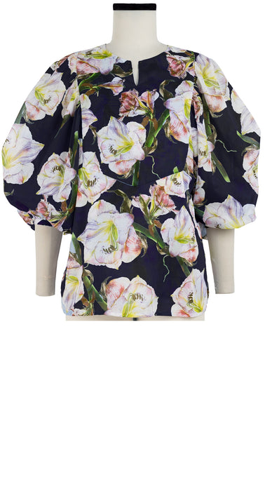 Anastasia Blouse Crew Slit Neck 3/4 Sleeve Cotton Musola (White Lily)