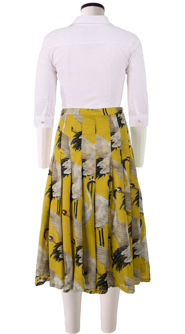 Zeller Skirt Long Length Cotton Musola (White Crane Bright)