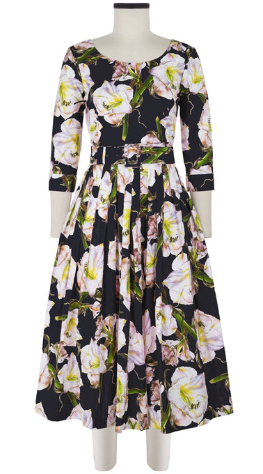 Florance Dress #2 Boat Neck 3/4 Sleeve Midi Length Cotton Stretch (White Lily)