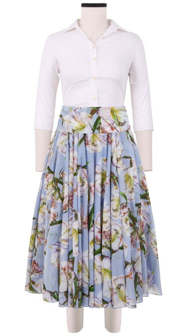 Aster Skirt with Yoke Midi Cotton Musola (White Lily)