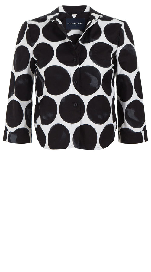 Anne Shirt 3/4 Sleeve Cotton Stretch (Whitney Dots)