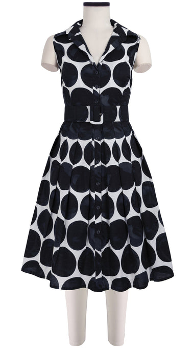 Audrey Dress #1_Whitney Dots in White Black_Cotton Stretch_Shirt Collar Sleeveless