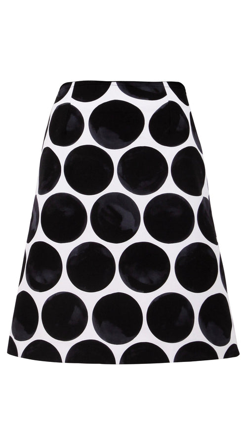 Regular | Whitney Dots | White Black | Front | Skirt By Samantha Sung