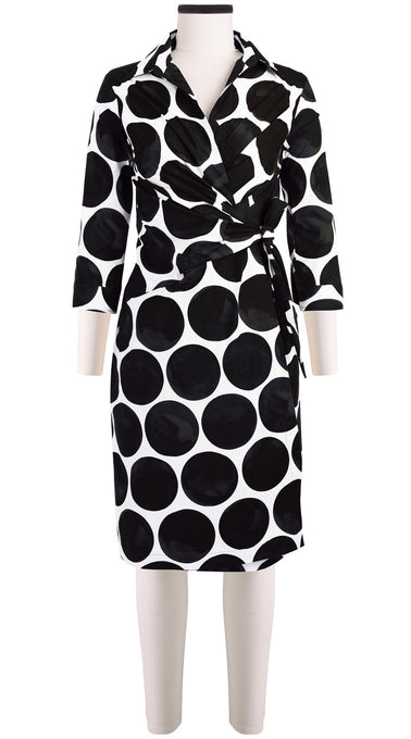 3/4 Sleeve | Whitney Dots | White Black | Front | Dress By Samantha Sung