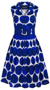 Audrey Dress #1_Whitney Dots in White Cobalt Blue_Cotton Stretch_Shirt Collar Sleeveless