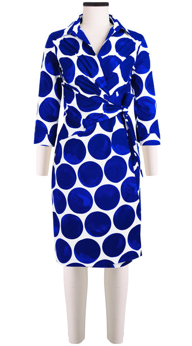 3/4 Sleeve | Whitney Dots | White Cobalt Blue | Front | Dress By Samantha Sung