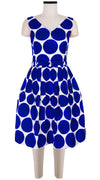 Sleeveless | Whitney Dots | White Cobalt Blue | Front | Dress By Samantha Sung