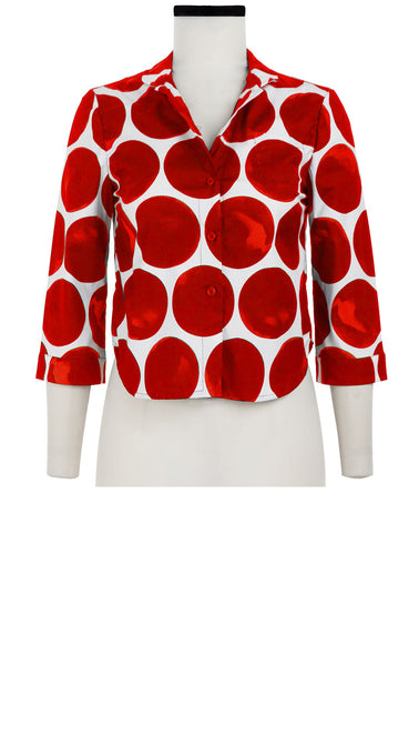 Ann Shirt 3/4 Sleeve Cotton Stretch (Whitney Dots)