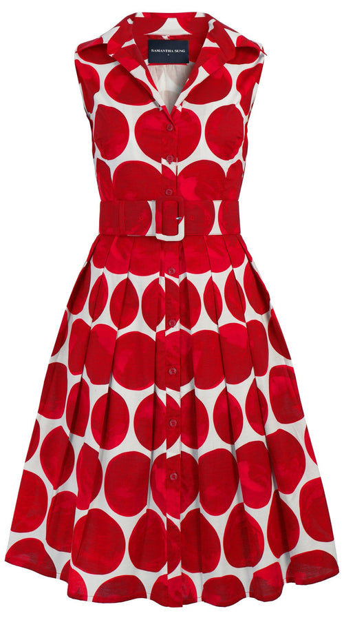 Audrey Dress #1_Whitney Dots in White Indian Red_Cotton Stretch_Shirt Collar Sleeveless