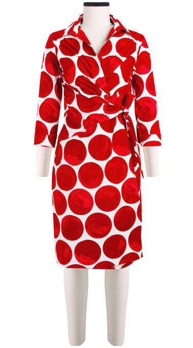 3/4 Sleeve | Whitney Dots | White Indian Red | Front | Dress By Samantha Sung