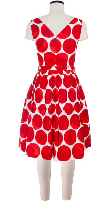 Sleeveless | Whitney Dots | White Indian Red | Back | Dress By Samantha Sung