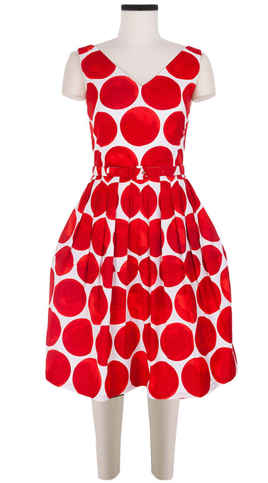 Sleeveless | Whitney Dots | White Indian Red | Front | Dress By Samantha Sung