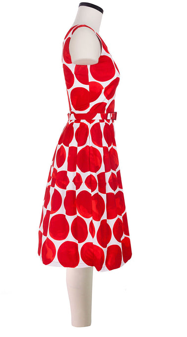 Sleeveless | Whitney Dots | White Indian Red | Right | Dress By Samantha Sung