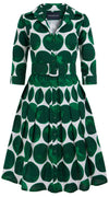 Audrey Dress #1_Whitney Dots in White Pine Green_Cotton Stretch_Shirt Collar 3/4 Sleeve