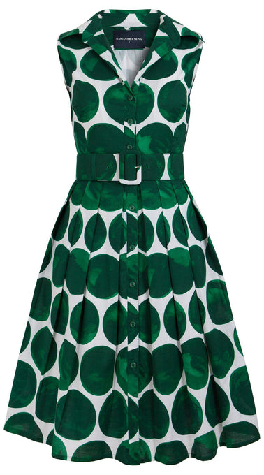 Audrey Dress #1_Whitney Dots in White Pine Green_Cotton Stretch_Shirt Collar Sleeveless